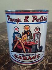 Vintage Oil Can 1 qt - Pump & Polish Garage Sign Can -Texaco - Shell - Mobiloil