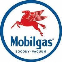 """Mobilgas Pegasas Round Tin Sign, 11.75"""" Diameter"""