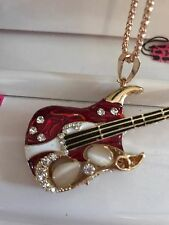 Cute NWT Betsey Johnson Necklace Gold Red Stone Guitar