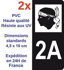 2X Autocollant adhésif sticker Noir immatriculation département 2A région Corse
