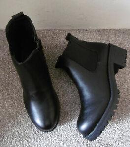 Black Chunky Sole Low Block Heel Chelsea Ankle Boots Size UK 6 EU 39