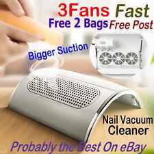 220V Nail Vacuum Cleaner Manicure Dust 3 Fans Collector Suction Fingernail Art
