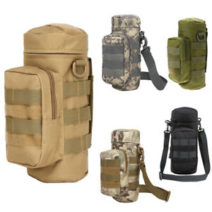 Military Tactical Molle Water Bottle Kettle Bag Pouch Holder with Shoulder Strap