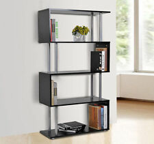 S Shape Lounge Storage Display Unit Wooden Bookcase Bookshelf Room Divider Black