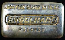 """Vintage Engelhard Poured 10 oz P Series """"Loaf"""" Bar .999 Pure Silver"""
