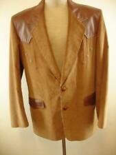 Mens XL 46R Pioneer Wear Brown Leather Corduroy Western Jacket Blazer Sport Coat