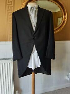 "Vintage 1945 Formal Wear  Wool Black Morning Coat, Chest 42/43"""