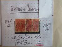 SOUTHERN RHODESIA STAMP S.G. 16, 16a, 16b F.U.