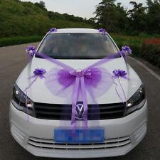 Kit Complet Décoration nœud Mariage violet Voiture Mariés ruban tulle fleurs