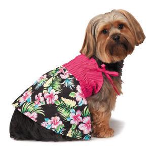Hawaiian Breeze Dog Puppy Dress Aloha Spring Island Black Pink Tropical Floral