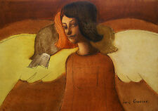 Angel/Original óleo sobre cartón por Jurij kravcov/35.5 X 25 Cm