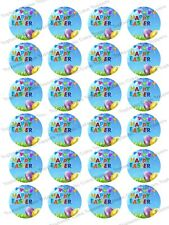 24 Happy Easter Eggs Edible Icing Cupcake Fairy Cake Party Bun Toppers