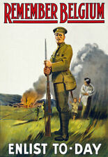 More details for w85 vintage wwi british remember belgium enlist army war poster ww1 a1 a2 a3