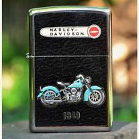 Zippo Lighter - Harley Davidson - 1949 Panhead V-Twin - Rare - Bar and Shield