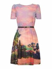 Uttam Boutique (London) Eastern Sunset Print Dress Size 12/40 BNWT RRP £65 Pink