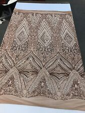 KHAKI-NUDE SEQUIN DIAMOND DESIGN EMBROIDERY ON A 4 WAY STRETCH MESH-SOLD BY YARD
