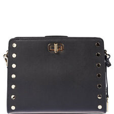 Michael Kors Sylvie Stud Black Leather Messenger Bag Retail $278