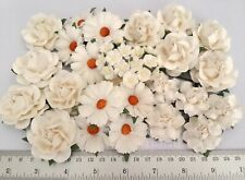 45 Assortment WHITE Paper Flower Wedding bouquet Scrapbook TH/ZM7-15