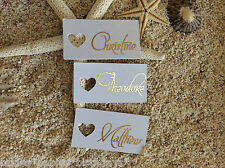 10 White Gift Tags Wedding Favour Personalised Bomboniere Place Cards Gold Foil
