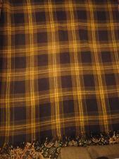Carriage Quilt Wool Plaid Brown Gold & Blue Lap Quilt Through 59 x 68 Vintage