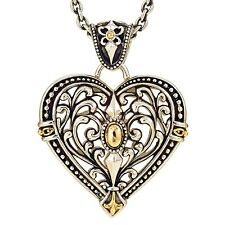 BEAUTIFUL BRAND NEW Filigree Heart Pendant in Sterling Silver & 14K Yellow Gold