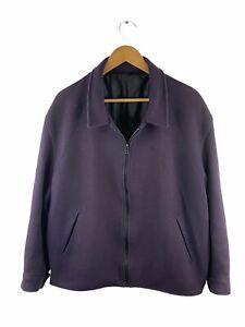 VINTAGE Bossini Wool Blend Zip Bomber Jacket Men Size L Purple Long Sleeve Lined