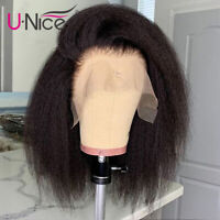 """Kinky Straight Wig Short Bob Wig 13x4 Lace Front Human Hair Wigs Pre plucked 12"""""""