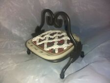 New ListingLongaberger Cc Mini Miniature Pottery 8x8 Baking Dish & Wrought Iron Stand +
