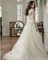 Maggie Sottero Barcelona Wedding Dress Ivory over Champagne/Pewter Accent