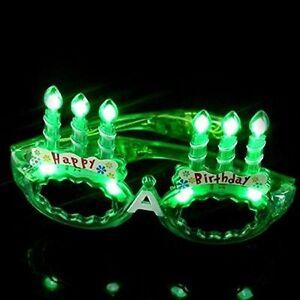 LED Flashing Light Up Happy Birthday Cake Party Glasses Shades (Green)