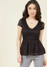 Modcloth Lead With Love Lace Top in Black in M Sexy Peplum Style