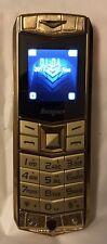 V3 Desbloqueado Doble SIM Teléfono Móvil Con Bolsa De Cuero, Color Oro, GSM 2G, MP3