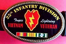 "Vietnam Veteran  25th INFANTRY DIVISION ""Tropic Lightning""  Epoxy Belt Buckle"