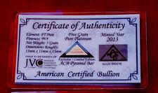 ACB Platinum PT BULLION 5Grain PYRAMID 9.99 WITH CERTIFICATE OF AUTHENTICITY~~+