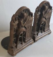 Pair Bookends Resin & Metal Man reading at desk Books Study Mid Century