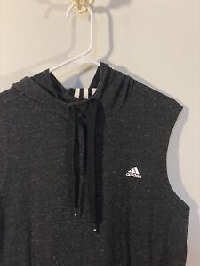ADIDAS Men's Gray Sleeveless Hoodie Hooded Pullover Sweatshirt Size Large