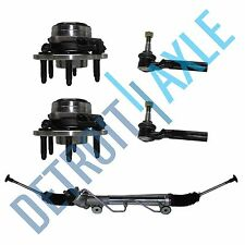 5 pc Set: Steering Rack and Pinion 2 Wheel Hub Bearing 2 Tie Rod; 2WD w/ ABS