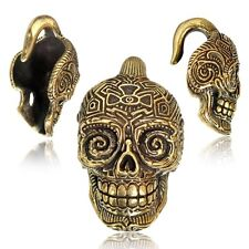 PAIR ORNATE 2g (6mm) DAY OF DEAD BRASS EAR WEIGHTS PLUGS TUNNELS STRETCH GAUGE