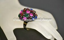 MULTICOLOR LARGE BLING DOME/BUBBLE RHINESTONES (OPEN BACK/ADJUSTABLE) RING