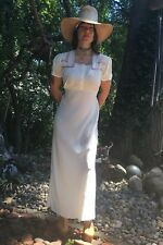 Vtg 30s Art Deco Ivory Rayon Maxi Long Dress Gown Bohemian Gypsy Hippie Chic