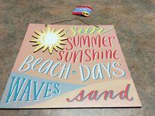 "Sun Summer Sunshine Beach Days Waves Sand Hanging Sign 10.7""X10.7"" new"