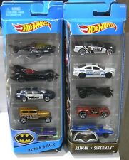 HOT WHEELS BATMAN VS SUPERMAN AND BATMAN 5 PACKS LOT