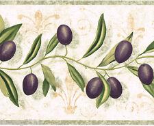 Tuscan Tuscany Purple Olives Green Vines Fleur De Lis Kitchen Wall paper Border