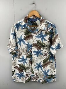 Croft & Barrow Mens Vintage Short Sleeve Hawaiian Floral Shirt Size L White Blue