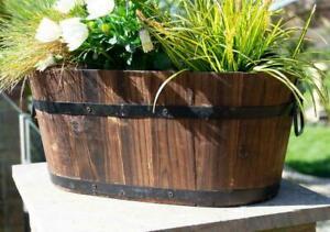 Garden Planter Wooden Barrel Plant Pot Oval Burnt Wood Rustic Various Sizes
