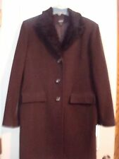 Ladies ESPRIT OUTERWEAR dress coat—brown L wool blend