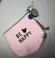 Disney Mickey Mouse Be Happy Pink Cosmetic Makeup Bag Junk Food 90th Anniversary