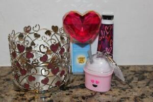 Bath & Body Works Pink & Silver Hearts Metal Candle Holder 4pc Valentine Day Set