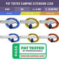 PAT TESTED ELECTRIC CARAVAN HOOK UP 4 OR 6 SOCKET LEAD 5M-50M FOR CAMPING, TENTS