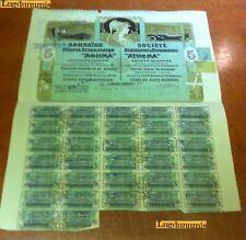 Société Athenienne D'Automobiles 5 Athena VERTE 1924 Capital 4000000 31 Coupons